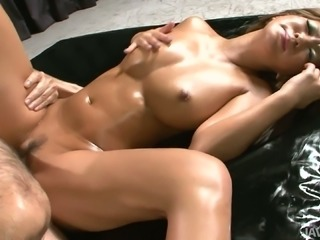 Kick ass body of Maeda Hina lotioned up and fucked hard in various positions