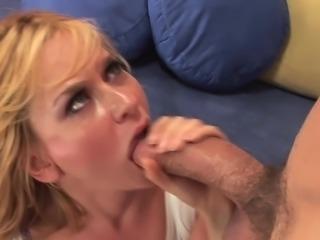 Blonde milf big tits swallows a huge load