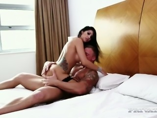 Raven haired horny cutie in fishnets Julia de Lucia let her dude penetrate...