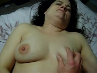 Chubby lass rubs while getting poked