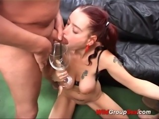 cum drinking flexi german in gangbang
