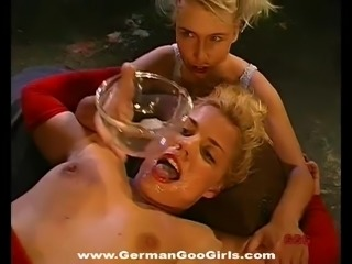 Sweet hardcore blonde girls get covered in bukkake cumshots
