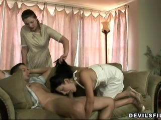 Gabriel was laying on the couch, relaxing and enjoying a blowjob from Lina,...