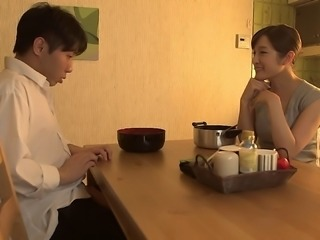 Japanese housewife seduces a college guy for his dick