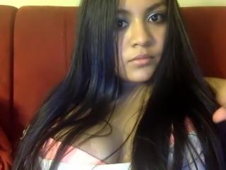 Latin Pretty girl masturbates in front of her new camera