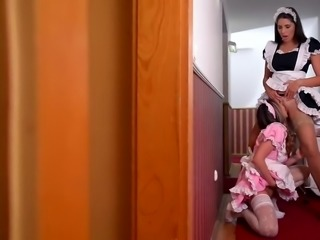 Lesbian maids fucked by hotel boss