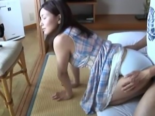 Beautiful Japanese Av model ends up with loads of cum on her face!