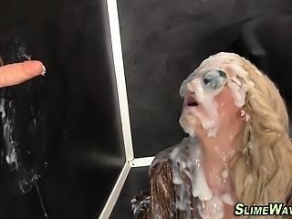 Kinky slut gets bukkaked