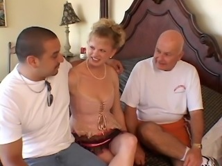 Hottie in heat takes on a bunch of big cocks