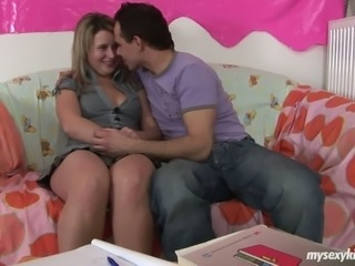 Chubby Russian teen porn chick Lisa is seduced by horny teacher