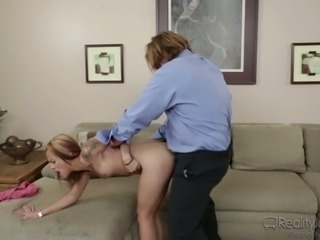 This petite coed has this weird fetish of having sex with mature men