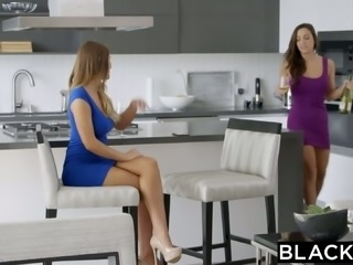 Tempting babes Abigail Mac and August Ames enjoy big black dick for the first...