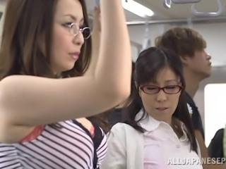 Slutty Japanese Babes Sucking Cocks In The Public Bus