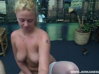 Cute blonde first timer jerks off his dick while masturbating