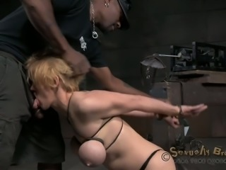 This thick blonde with big juicy melons is enjoying her BDSM session