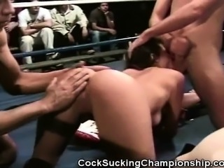Shaena Steele is in the ring for a blowjob competition on hunks