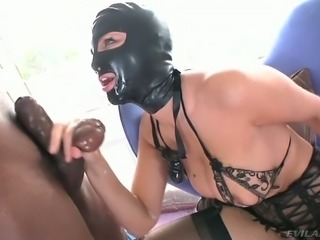 BBC fucks face of one busty white whore wearing mask