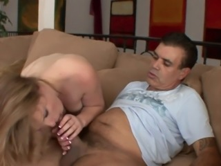 Busty blonde gets seduced by older man to suck his tool