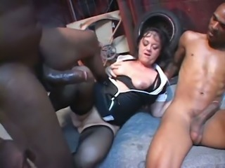 Mature brunette whore enjoys anal sex with two black studs