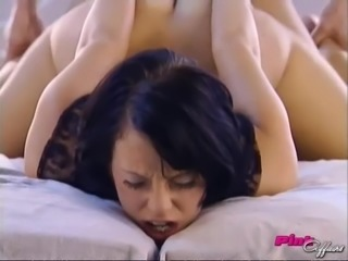 Caged beauty in black lace fucked anally by a big dick