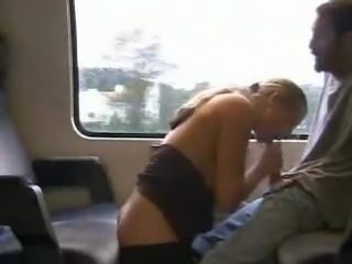 Teen German girl gets fucked from behind on a train