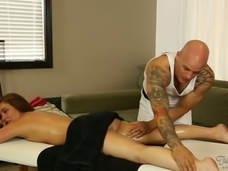 Bald tattooed rubber massages sexy dark haired chick and wishes to tickle her...