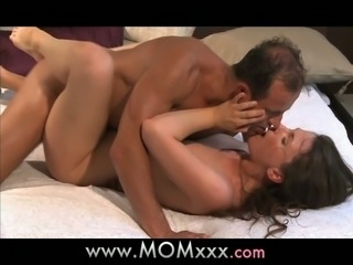 Stunning girl wakes up and rides big dick in a bedroom