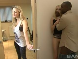 Black horny man fucks spoiled kooky of his slutty GF April Paisley tough