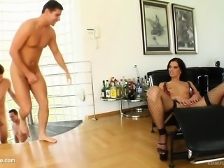 Facial group cumshots for Queenie on Cum For Cover in a
