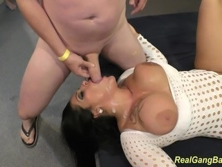 sexy busty ashley cum in real gangbang