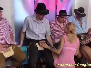Hot german lederhosen gangbang bukkake fuck party orgy