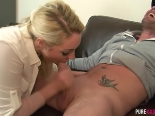 Curvy blonde with big tits gives an amazing blowjob to her neighbor. Sexy...
