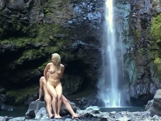 Sexy looking blond MILF had steamy waterfall adventure with her kinky stud