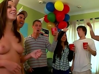 College babes throw a surprise party showing off their pussy and boobs...