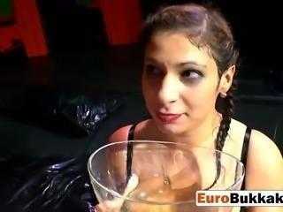 European brunette gang-banged during weird pissing orgy