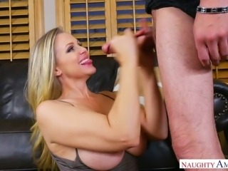 Oversexed blond bitch Julia Ann rides hard dick and gets her slit rammed