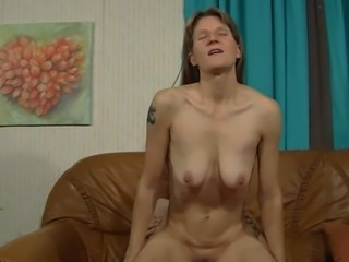 Mature long haired slut with saggy tits gets banged in doggy and revers poses...