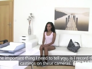 Petite ebony in lingerie sucks agents dick