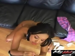 Sweet Jasmine Byrne sucks a cock before bending over for it
