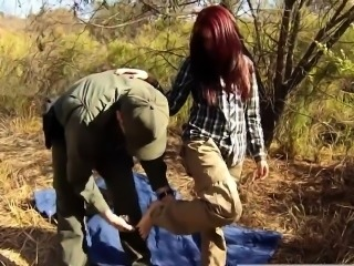 Huge tan tits Oficer of patrol agrees to help redhaired stun