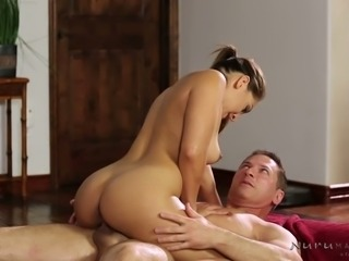 Good looking brunette filth Sara Luvv gets naughty with horny stud in massage...
