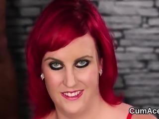 Hot sex kitten gets sperm shot on her face gulping all the s