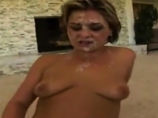Dirty bukkake for titted slut that is sweet little