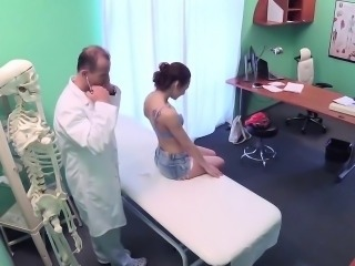 Hot brunette with small tits riding a fat dick of a doctor