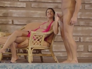 Banging hotness Vivien Bell in and outside of a pool