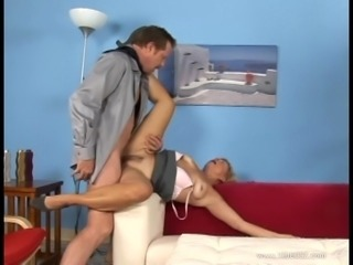 Blonde mom Katie blows and enjoys upskirt doggy style sex