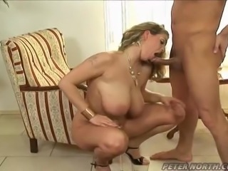 Massive blond babe with natural tits gets fucked anal