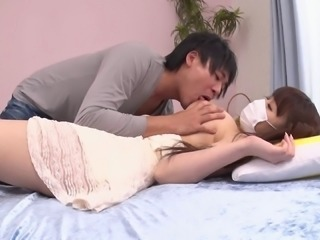 Masked Asian babe with an imposing chest grabbed and screwed