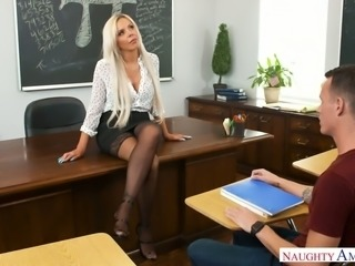 Mature and majestic blonde professor sucks dick and fucks a student