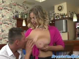 Busty MILF screwed in cowgirl position